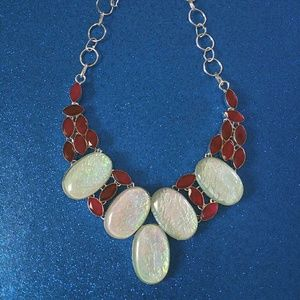 Jewelry - Triplet Opal and Ruby Sterling Silver Necklace